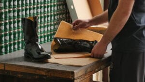 Boot being wrapped in paper